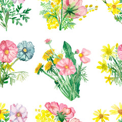 Watercolor hand painted nature floral meadow seamless pattern with pink acacia, Arnica, wormwood, blue Daisy, yellow dandelion flowers bouquets isolated on the white background, lovely print for cards