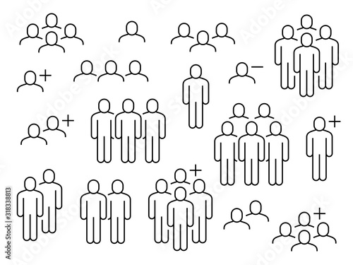 Obraz People line icons. Business people groups outline pictograms, add friend request, communication, teamwork and human crowd vector signs - fototapety do salonu
