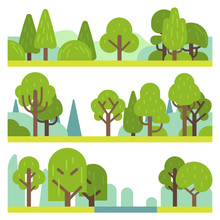 Forest And Park Plants. Flat D...
