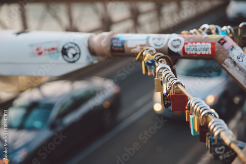 Close-Up Of Love Locks Hanging On Railing At Brooklyn Bridge