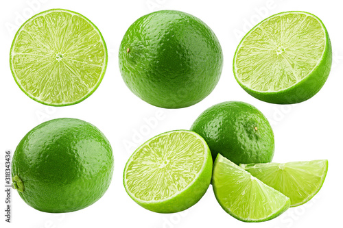 Fotografia, Obraz lime isolated on white background, clipping path, full depth of field