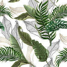 Seamless Pattern With Tropical Leaves On White Background. Vector.