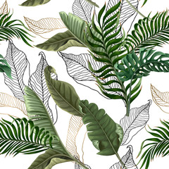 Naklejka Do salonu Seamless pattern with tropical leaves on white background. Vector.