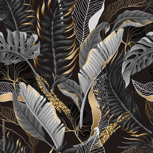 Seamless pattern with black and white tropical leaves and golden elements. Vector. Wall mural