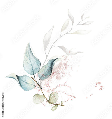 Foto Watercolor painted floral bouquet isolated on white background