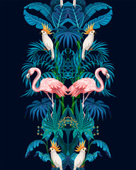 Panel Szklany Zwierzęta Seamless border with jungle trees, flamingo and parrots. Vector.