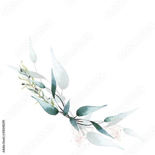 Photo Watercolor painted floral bouquet isolated on white background