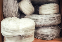 Skeins Of White And Gray Wool ...