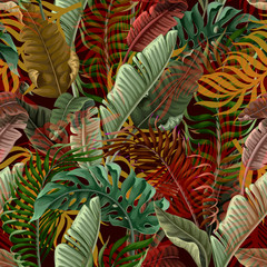 Panel Szklany 3D Seamless pattern with tropical leaves on black background. Vector.