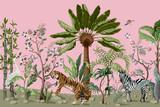 Wzór w stylu chinoiserie z drzewami tygrysa, czapli i dżungli. - 318349242