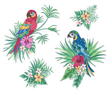 Tropical Collection Parrots. Vector Design Isolated Elements On The White Background. Exotic Flowers And Palm Leaves. Exotic Set Tropical For Wedding Invitations, Greeting Card And Fashion Design.
