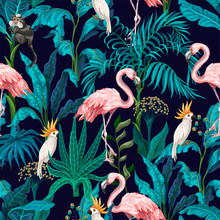 Seamless Pattern With Jungle Trees, Flamingo And Parrots. Vector.