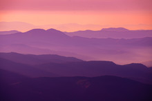 Purple Sunset In The Mountains