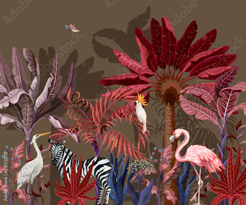 Border with tropical animals in jungle. Vector. Wall mural