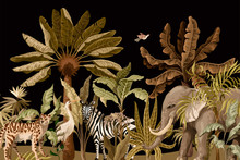 Pattern With Elephants, Zebras And Tropical Trees