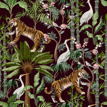 Seamless Pattern In Chinoiserie Style With Tiger, Heron And Jungle Trees.