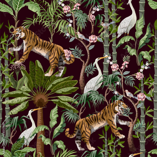 Seamless pattern in chinoiserie style with tiger, heron and jungle trees Canvas Print