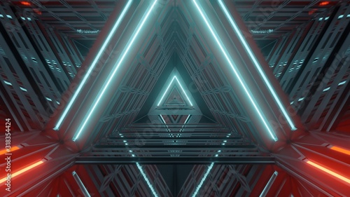 Futuristic illuminated hallway with beautiful abstract light effects - great for a cool background