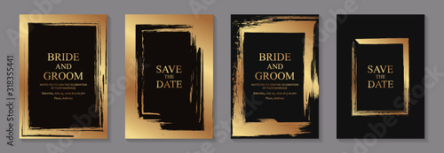 Fotografía Set of modern grunge luxury wedding invitation design or card templates for business or poster or greeting with golden paint brush frames on a black background
