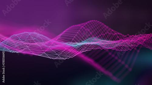 Fototapeta Abstract music wave technology background