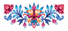 Digital Illustration, Abstract Fantasy Botanical Design Symmetrical Pattern, Red Blue Folklore Floral Motif Isolated On White Background, Watercolor Texture, Modern Fashion Print