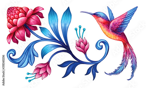 Valokuvatapetti digital illustration, abstract fantasy flower and bird red blue folklore motif,