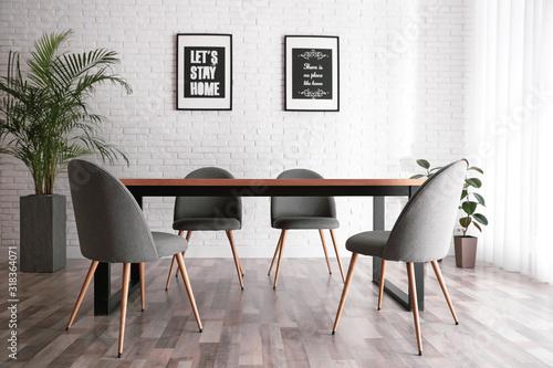 Fototapeta Modern dining room interior with stylish furniture obraz