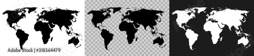 Set World Map on white, transparent and gray background, continents of the plane Wallpaper Mural
