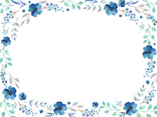 Floral Frame Template With Blu...