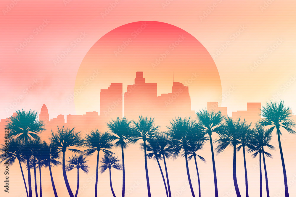 Fototapeta Los Angeles city downtown skyline illustration at dusk or down with sun in the background and palm trees in the foreground. Yellow, orange and pink scenery 2D illustration. California, USA.