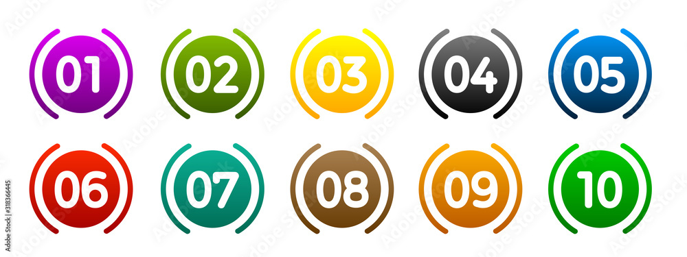 Fototapeta Modern colorful numbers button set multicolored – vector