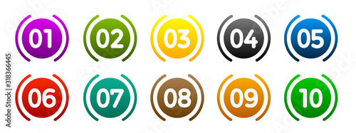 Obraz na płótnie Modern colorful numbers button set multicolored – vector