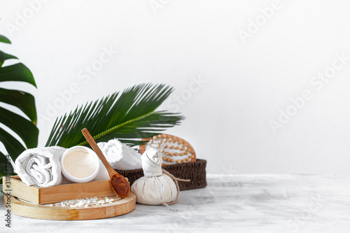 Fototapeta Spa composition with care items on a light background
