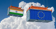 Freight container with India and European Union flag. 3D Rendering