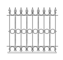Metal Grill Of A Classic Fence. Line Drawing. Vector Illustration