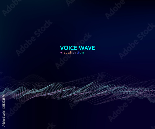 Concept of voice wave visualisation, sparkle modern wave pattern Wallpaper Mural