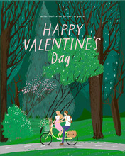 Happy Valentine's Day! Vector Illustration For The Holiday Of February 14 -  Date On The Bike In The Forest On Nature. Drawing For Background, Card Or Poster.
