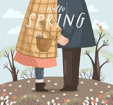 Hello Spring! Cute Vector Illu...