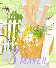 Happy International Women's Day March 8th! Cute Vector Illustration Of A Woman With A Basket Of Wildflowers On Nature. Freehand Spring Drawing For Background, Card Or Poster.
