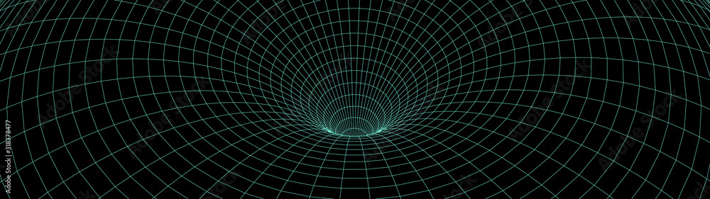 Fototapeta Vortex. Vector perspective curved grid. Wireframe abstract tunnel. 3D vector wormhole with a mesh structure.