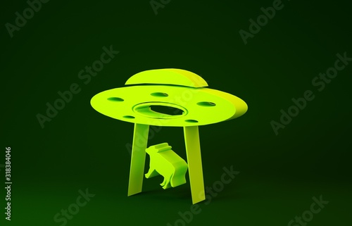 Yellow UFO abducts cow icon isolated on green background Canvas Print