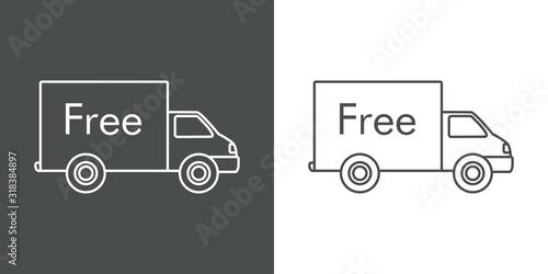 Símbolo de entrega gratuita. Envío con camión y palabra Free. icono lineal en fondo gris y fondo blanco