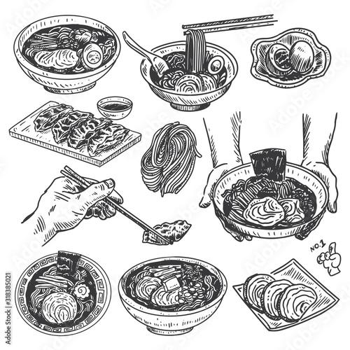 Vintage food sketch, Hand drawn Japanese ramen menu, Vector
