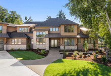 Luxury Home Exterior On Sunny ...