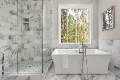 Photo Bathroom with bathtub and shower in new luxury home with all glass shower