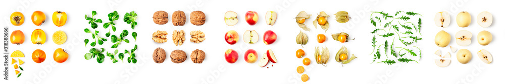 Fototapeta Different fruits set and creative banner.