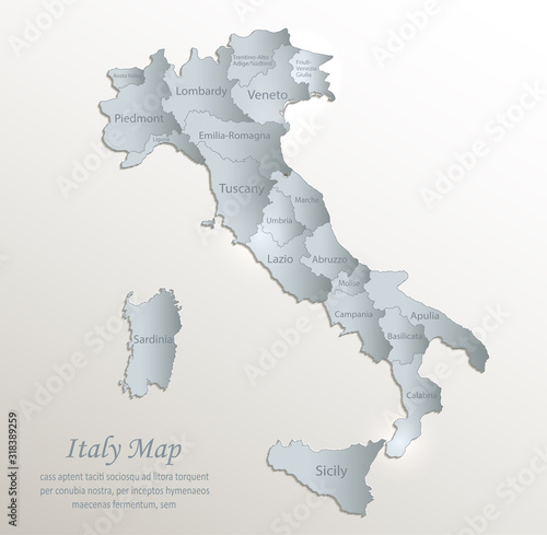 Italy map, administrative division with names, white blue card paper 3D vector Wallpaper Mural