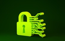 Yellow Cyber Security Icon Isolated On Green Background. Closed Padlock On Digital Circuit Board. Safety Concept. Digital Data Protection. Minimalism Concept. 3d Illustration 3D Render