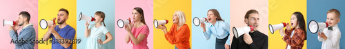 Photo Collage of different people with megaphones on color background