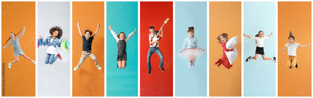 Fototapeta Collage of photos with different jumping children